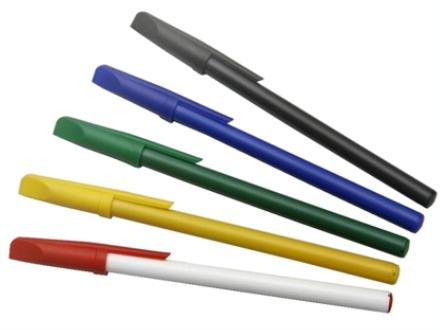 Caneta para brindes redonda com tampa, cargas: azul, preta e vermelha