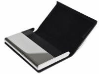 Porta cartão em couro sintético e plaquinha para gravação
