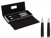 Conjunto de caneta e lapiseira promocional com detalhe em couro ecológico e elegante estojo