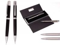 Conjunto de caneta e lapiseira promocional de metal com elegante estojo