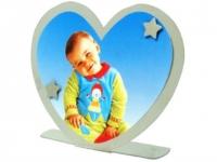 Porta Retrato personalizado no formato de coração em metal Acompanha 2 imãs