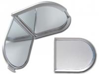 Espelho para brindes de pvc prata com lente de aumento em um dos lados