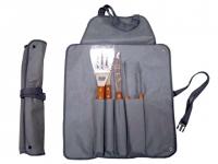 Kit churrasco promocional com 5 peças: Avental, espátula , garfo, faca e pegador