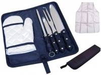 Kit churrasco promocional Contém 6 peças: Avental prata, luva prata, 2 facas, um garfo e um amolador faca