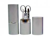 Kit Manicure promocional prata com 6 peças ( 2 espátulas, 1 tesoura, 1 cortador de unha, 1 pinça, 1 lixa)
