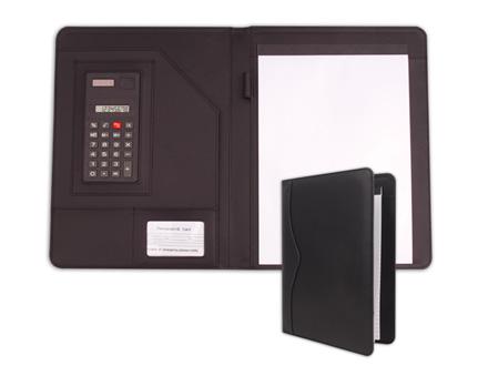 Pasta personalizada com calculadora, porta cartão e bloco de anotações. (Bloco com 20 folhas)