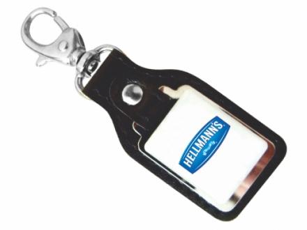 Chaveiro personalizado em couro legitimo com plaquinha em níquel e etiqueta resinada