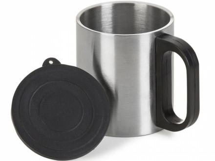 Caneca para brindes de aço Inox 200ml com tampa