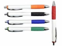 Caneta promocional plástica com corpo branco em detalhes coloridos