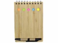 Porta bloco post it capa em madeira com caneta inclusa
