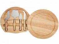 Kit talheres para queijo com 4 peças e tábua em madeira