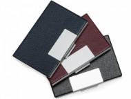 Porta cartão promocional de couro ecológico com detalhes em alumínio