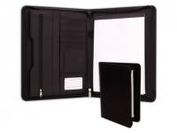 Pasta personalizada com porta cartão, bloco de anotações e bolso com zíper