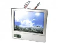 Relógio para brindes com porta retrato e porta caneta Tamanho da foto: 12x9 cm.