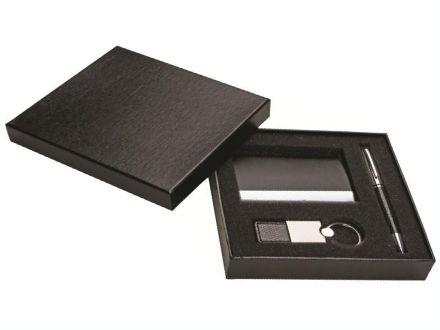 Kit promocional com porta cartão, chaveiro e caneta