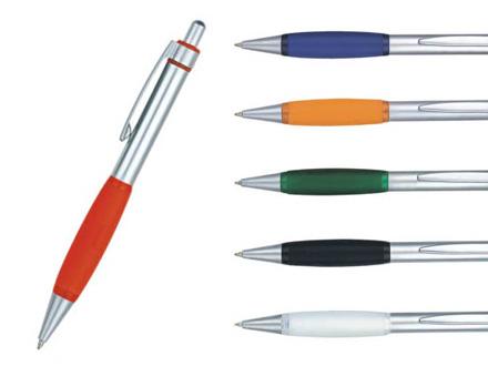 Lapiseira personalizada de metal com detalhe em silicone diversas cores
